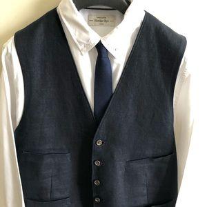 J Crew Navy Linen Suit Vest - L